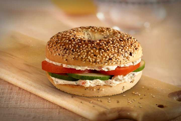 Bagel And Cream Cheese With Tomato And Cucumber