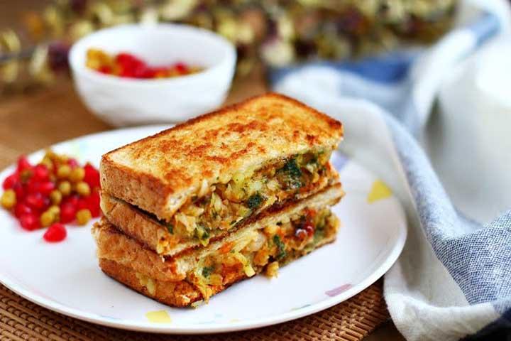 Chole Masala Toast Sandwich