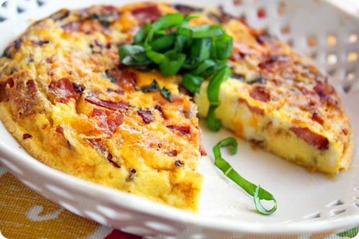 Eggs With Ham Cheddar And Chives