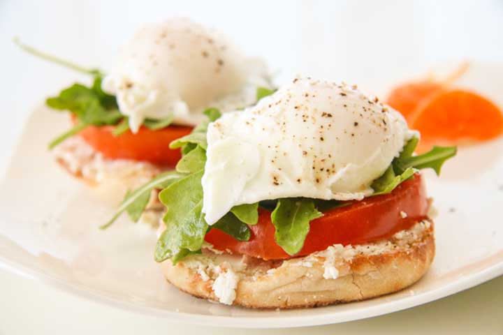 Open Faced Egg And Tomato Sandwich