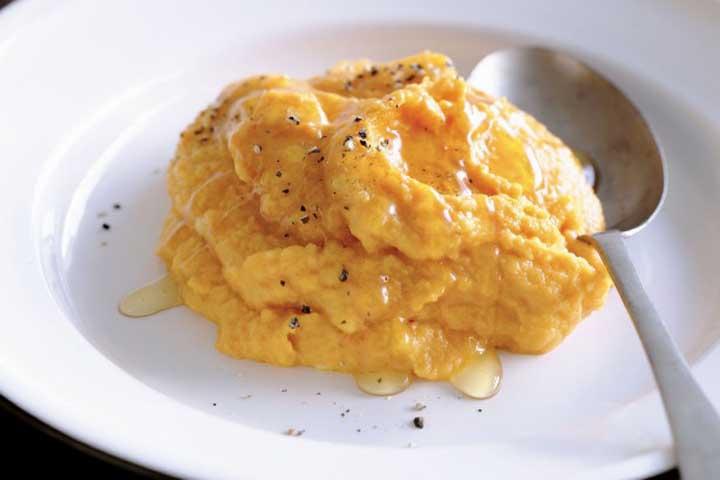 Pumpkin baked Bean and cheese mash