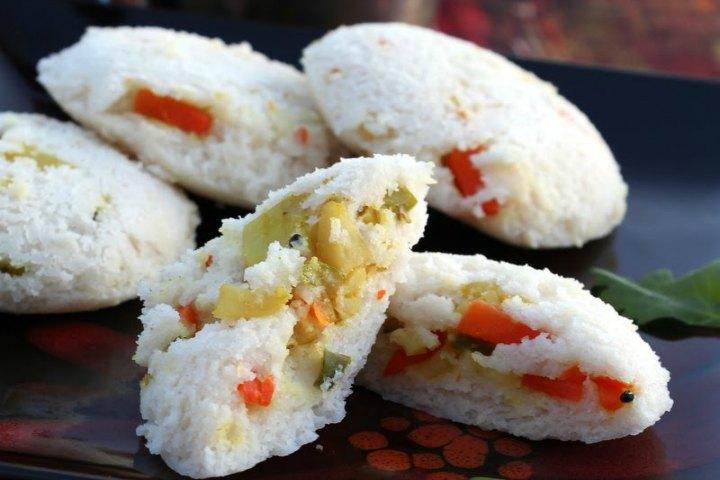 Vegetable Stuffed Idli