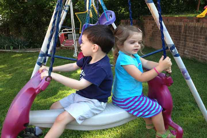 Your Kiddo Now Is Able To Play On A Swing/Balance Beam On His Own