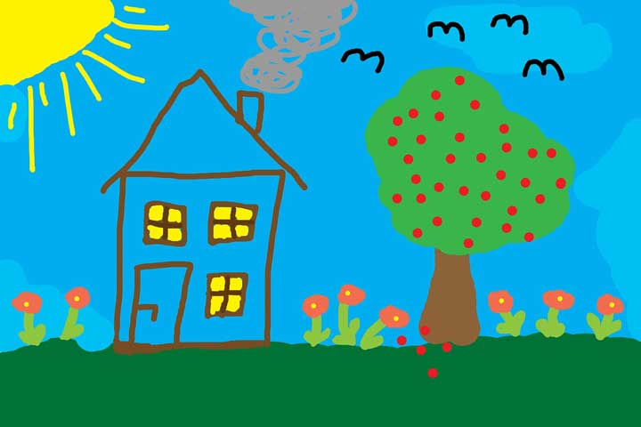 Your Little One Is Able To Draw A Simple House